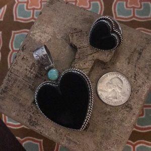Joan Slifka matte black onyx heart pendant & ring